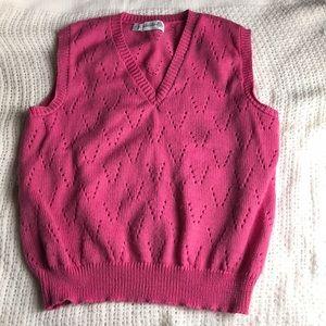 🧼3/$20 Vtg Large Unbranded Wool Pink Sweater Vest